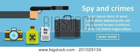 Spy and crimes banner horizontal concept. Flat illustration of spy and crimes banner horizontal vector concept for web