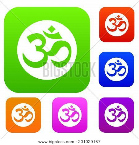 Symbol Aum set icon in different colors isolated vector illustration. Premium collection