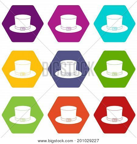 Leprechaun hat icon set many color hexahedron isolated on white vector illustration