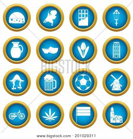Netherlands icons blue circle set isolated on white for digital marketing