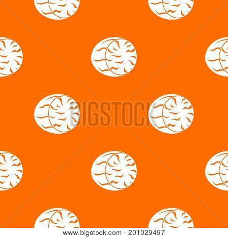 Half of nutmeg pattern repeat seamless in orange color for any design. Vector geometric illustration