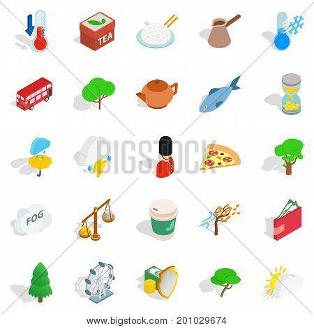 England icons set. Isometric set of 25 england vector icons for web isolated on white background