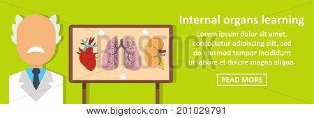Internal organs learning banner horizontal concept. Flat illustration of internal organs learning banner horizontal vector concept for web