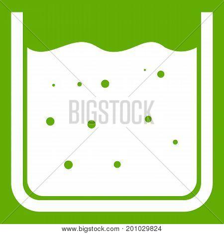 Beaker filled with liquid icon white isolated on green background. Vector illustration