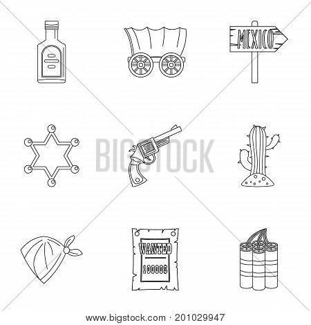 Cowboy icon set. Outline set of 9 cowboy vector icons for web isolated on white background