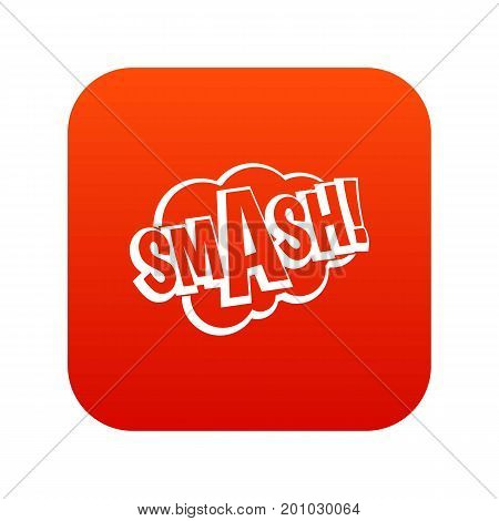 SMASH, comic book bubble text icon digital red for any design isolated on white vector illustration