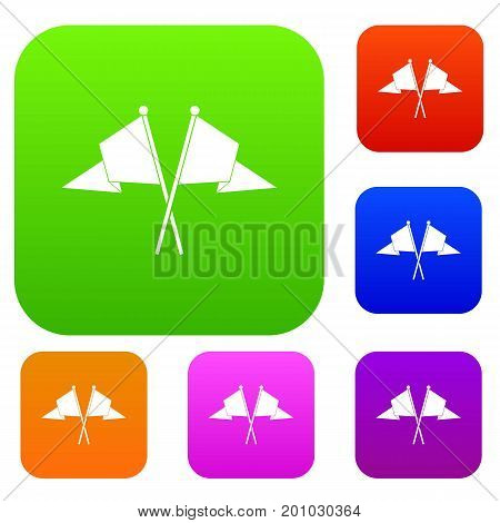 Two flags set icon in different colors isolated vector illustration. Premium collection