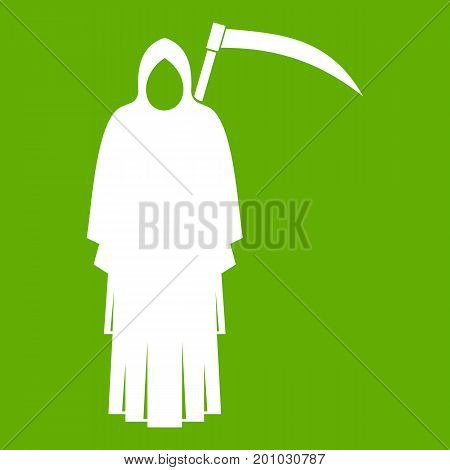 Death with scythe icon white isolated on green background. Vector illustration