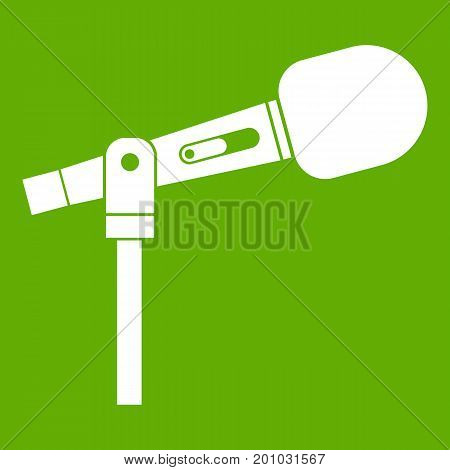 Microphone icon white isolated on green background. Vector illustration