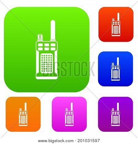Portable handheld radio set icon in different colors isolated vector illustration. Premium collection