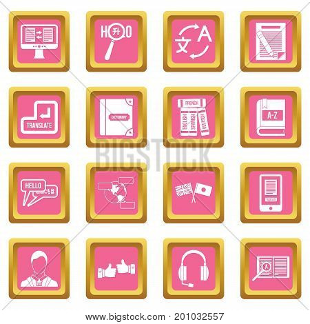 Learning foreign languages icons set in pink color isolated vector illustration for web and any design