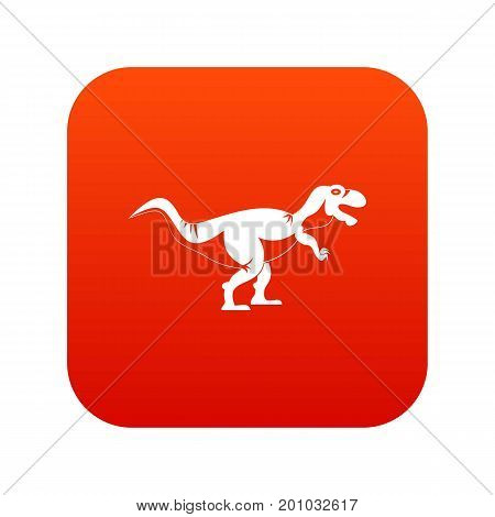 Tyrannosaur dinosaur icon digital red for any design isolated on white vector illustration