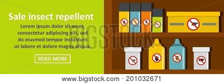 Sale insect repellent banner horizontal concept. Flat illustration of sale insect repellent banner horizontal vector concept for web