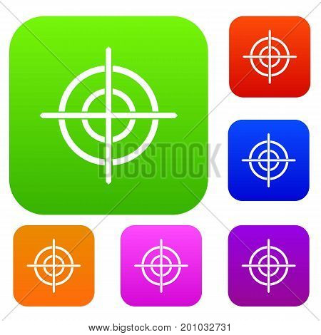 Target crosshair set icon in different colors isolated vector illustration. Premium collection