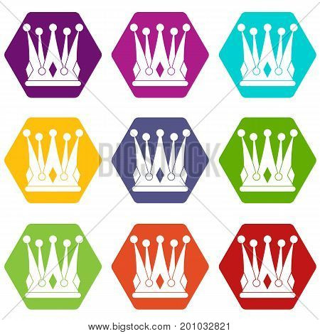 Kingly crown icon set many color hexahedron isolated on white vector illustration
