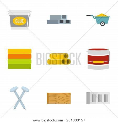 Building material icon set. Flat set of 9 building material vector icons for web isolated on white background
