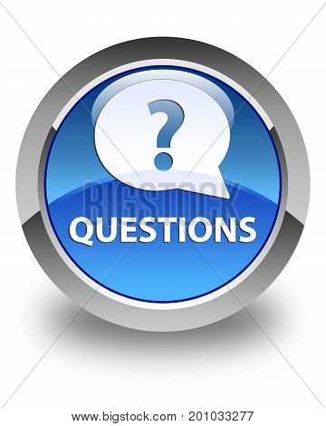 Questions (bubble Icon) Glossy Blue Round Button
