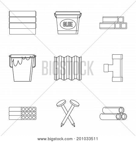 House construction material icon set. Outline set of 9 house construction material vector icons for web isolated on white background
