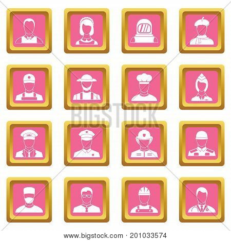 Professions icons set in pink color isolated vector illustration for web and any design