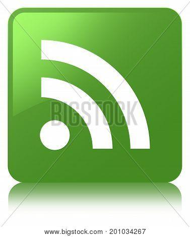 Rss Icon Soft Green Square Button
