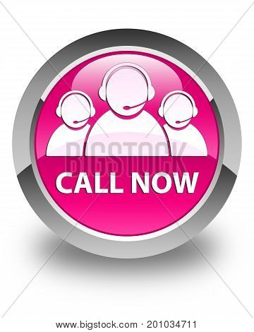 Call Now (customer Care Team Icon) Glossy Pink Round Button