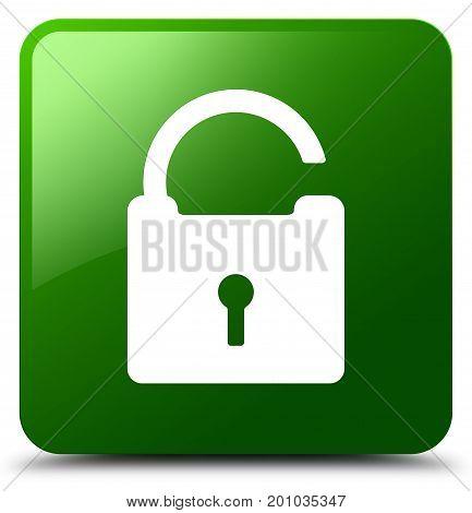 Unlock Icon Green Square Button