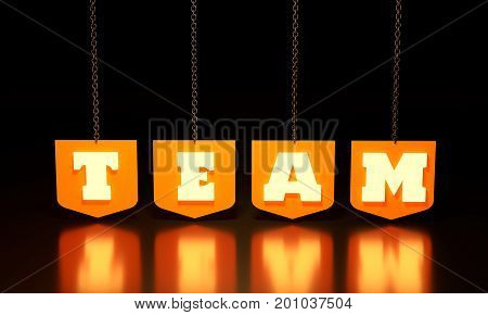 The word team hanging from a chain. 3D rendering. Background for book cover, report header, presentation, infographics, printing, website banner.