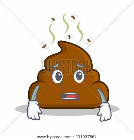 Afraid Poop emoticon character cartoon vector illustration