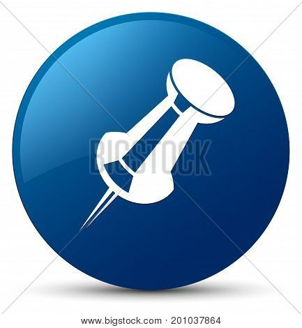 Push Pin Icon Blue Round Button