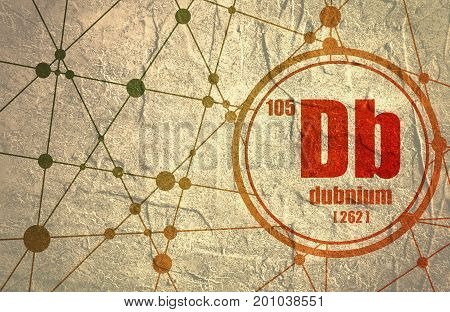 Dubnium chemical element. Sign with atomic number and atomic weight. Chemical element of periodic table. Molecule And Communication Background. Connected lines with dots.
