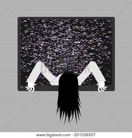 Zombie Girl From Tv. Zombie Comes Out Of Televisor. Interference Glitch Tv. Halloween