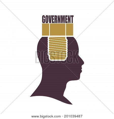 Person with text government flat icon. Rules and regulations. Terms and conditions icon. Screw in the head of a person.