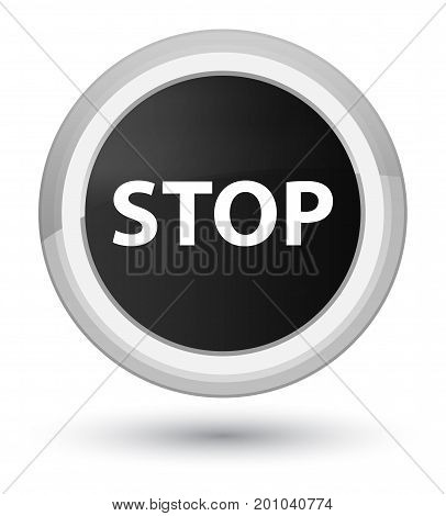 Stop Prime Black Round Button