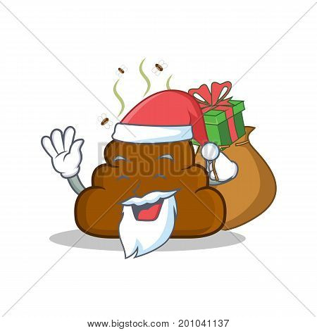Santa with gift Poop emoticon character cartoon vector illustration