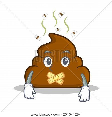 Silent Poop emoticon character cartoon vector illustration