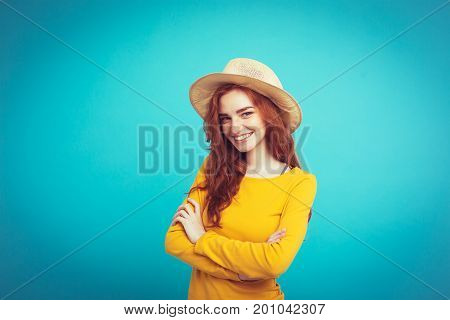 Travel Concept - Close Up Portrait Young Beautiful Attractive Redhair Girl Wtih Trendy Hat And Sungl