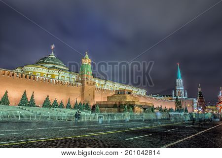 Night view of Moscow Red Square Mausoleum of Lenin and Russian Government building