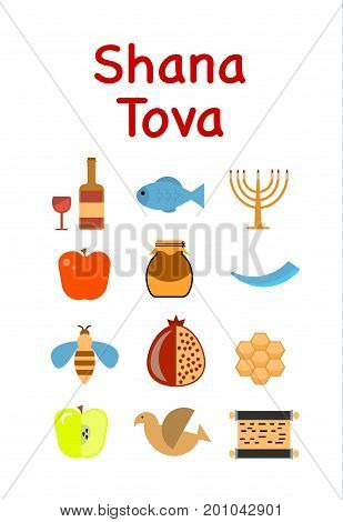 Vector Illustration. Set Of Icon For Jewish New Year