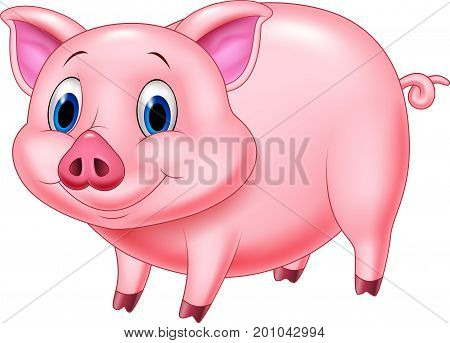 Vector illustration of Cartoon pig character on white background