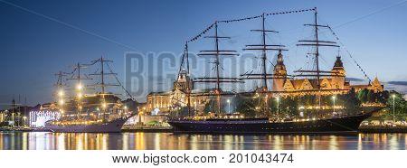 Big sailing ships at night at hakena terraces in Szczecin Tall ship races 2017