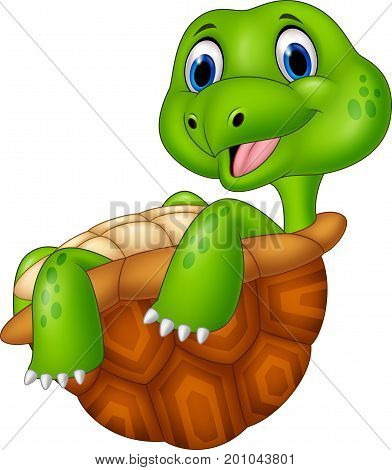 Vector illustration of Cartoon turtle relaxing isolated on white background