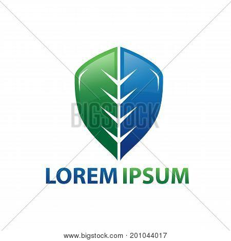 leaf shield logo, half shield and half leaf, illustration design, isolated on white background.