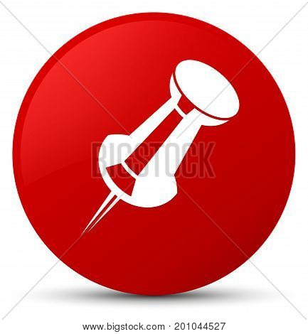 Push Pin Icon Red Round Button