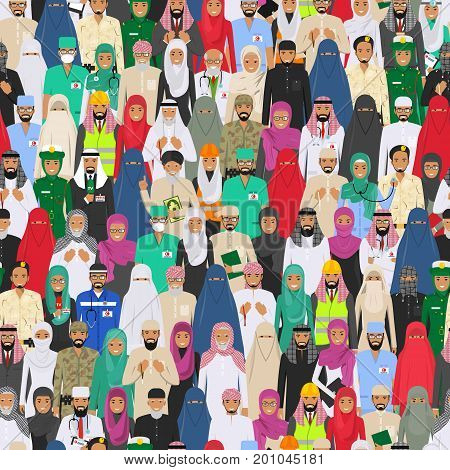 Vector seamless pattern group of arab men and women different professions standing together. Flat design people characters. Social concept. Muslim concept. Different dress styles. Cute and simple in flat style. Illustration of society members. Design peop