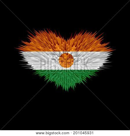 The Heart of Niger Flag abstract background.