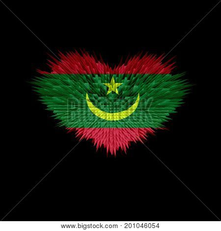 The Heart of Mauritania Flag abstract background.