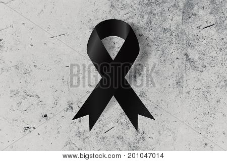 Black Ribbon On The Ground Symbol Of Remembrance Or Mourning Commemorate