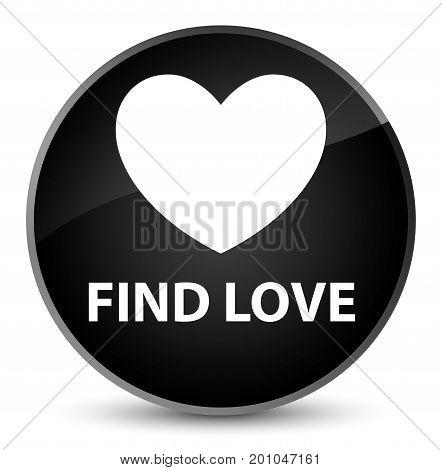 Find Love Elegant Black Round Button