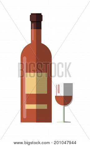 Wine bottle or alcohol drink glass cup with closed cork. Vector flat icon for restaurant or bar pub menu design element