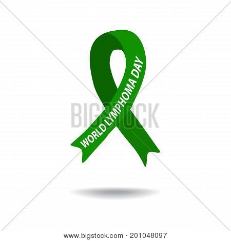 World Lymphoma Awareness Day. Green ribbon. Vector illustration on isolated background